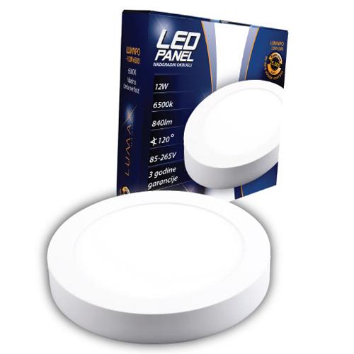 LED paneli nadgradni okrugli 12W 6500