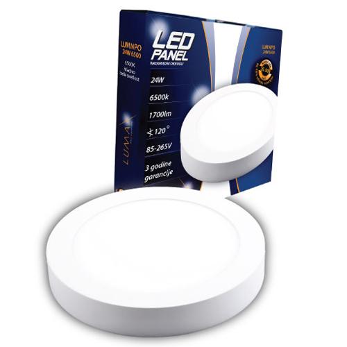 LED paneli nadgradni okrugli 24W 6500