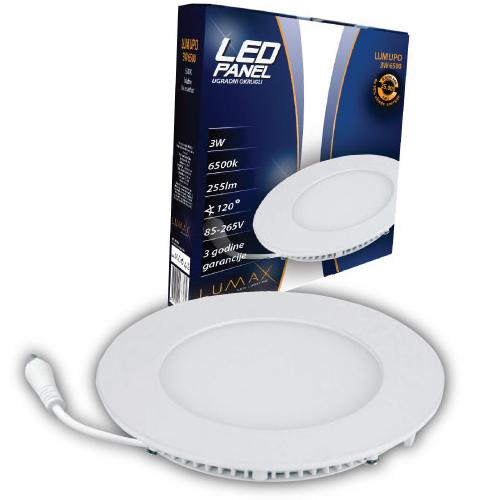 LED paneli ugradni okrugli 3W