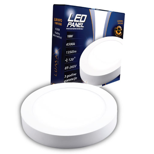 LED paneli nadgradni okrugli 18W 6500
